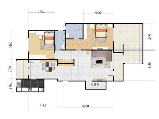 D-C首层户型图2室2厅2卫1厨 131�O