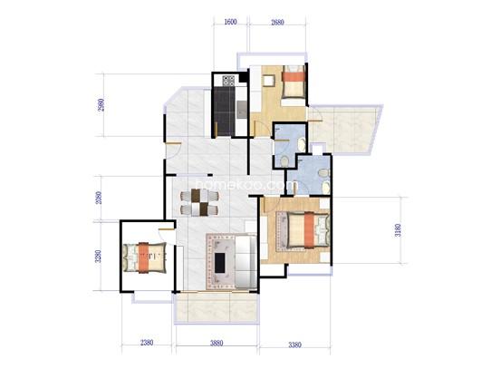 F洋房阳光公寓1单元02户型图105.51�O