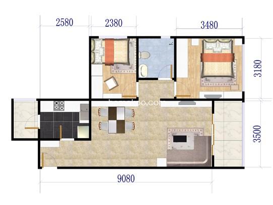 02户型2室2厅1卫1厨 80�O
