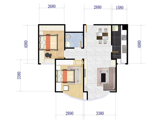 503号楼B户型2室2厅1卫1厨 108.32�O