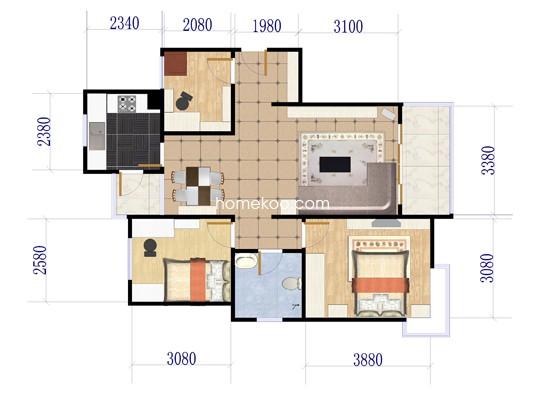 D2户型图3室2厅1卫113.00�O
