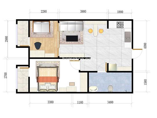 C-A户型图2室1厅1卫1厨 69�O