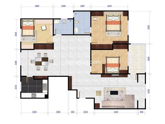 19、21、23#01、02户型图4室2厅2卫 165.82�O