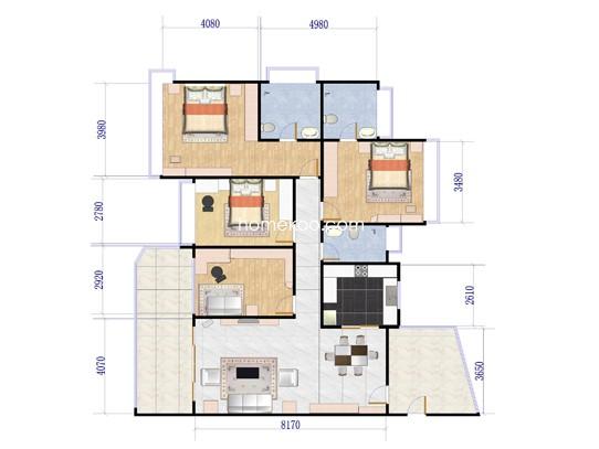 四房两厅户型