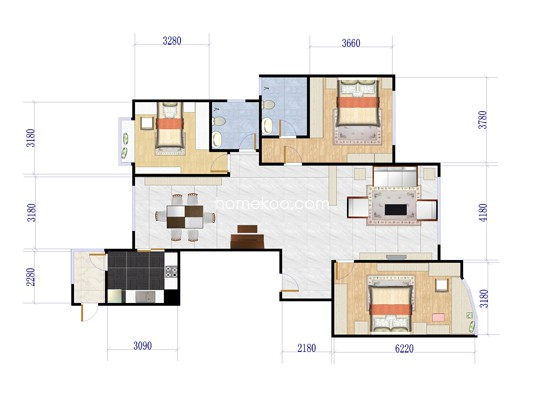 502号楼B户型3室2厅2卫1厨