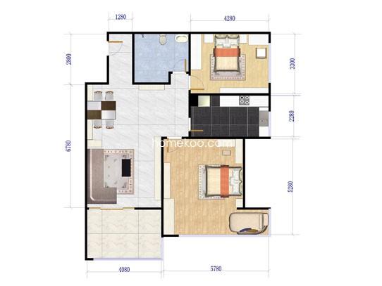 1#G1-6户型2室2厅1卫1厨 88�O