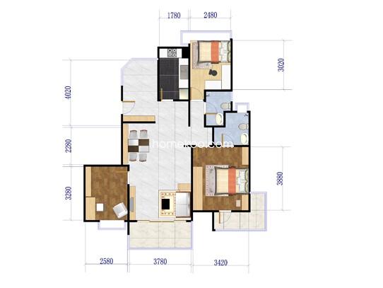 F洋房阳光公寓3单元02户型图