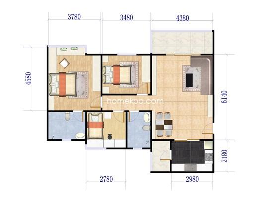 02单元户型3室2厅2卫 123�O