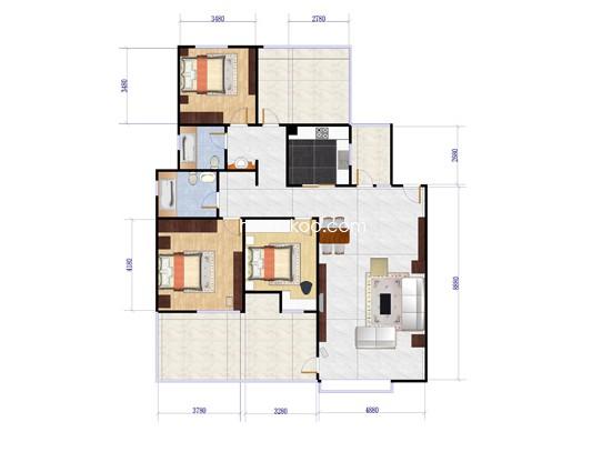 A3a户型3室2厅2卫 116.93�O