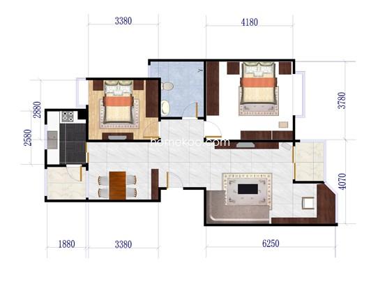 70、72、74号01室户型2室2厅1卫 104.02�O