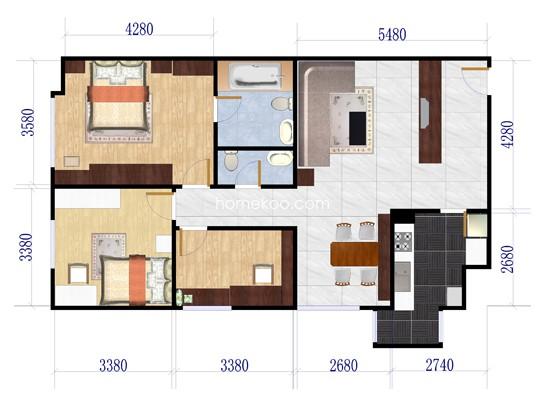 02户型3室2厅2卫1厨 119.49�O