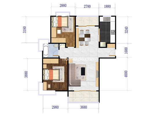 B户型图2室2厅1卫1厨 111.83�O