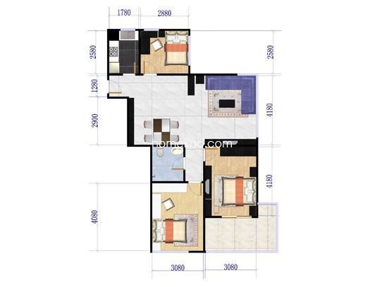2-5#GX-4户型3室2厅1卫1厨 89�O