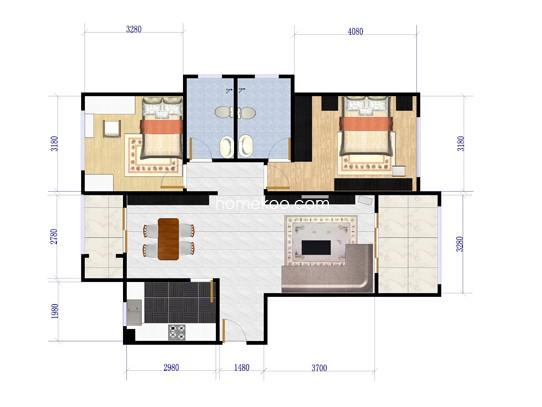 1号楼06单元户型2室2厅2卫 144.19�O
