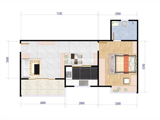A单元户型1室2厅1卫 42�O