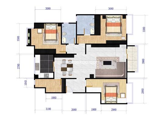 D户型图4室2厅2卫1厨120�O