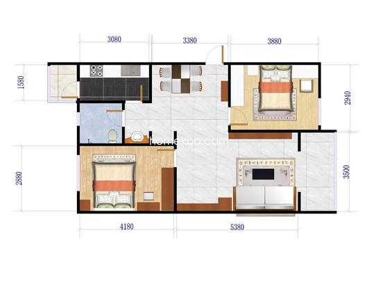 M户型图2室1厅1卫1厨 121.55�O