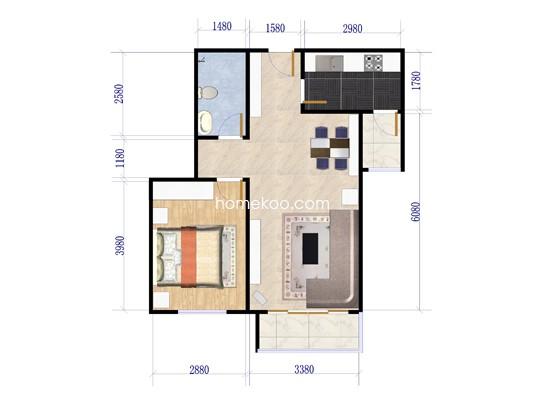 N户型图1室2厅1卫1厨 64.15�O
