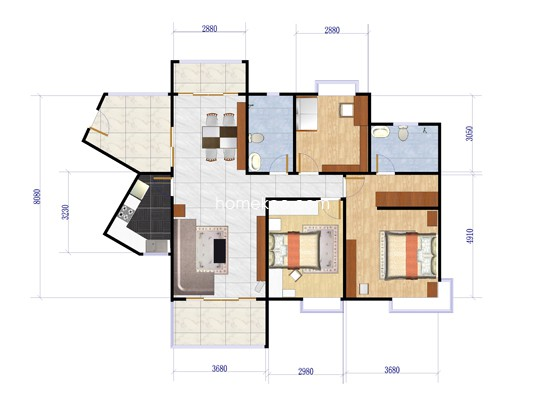 N22栋04单位三房两厅户型图 123�O