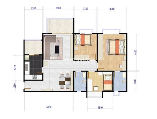 A8号楼2-13层06单元3室2厅2卫1厨 91.35�O