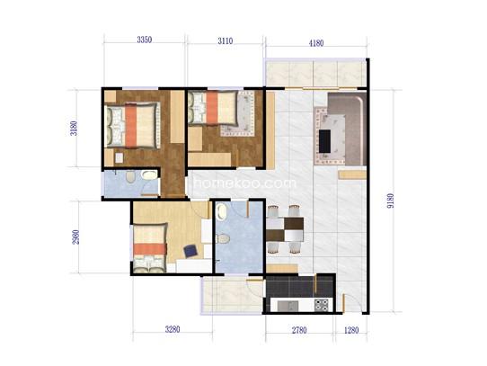 3室2厅2卫1厨 92�O