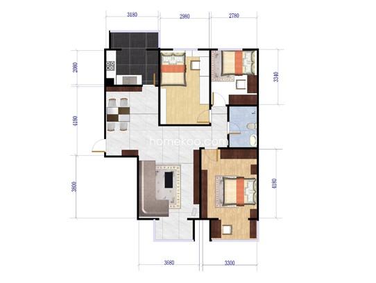 P户型图3室2厅1卫1厨 126.21�O
