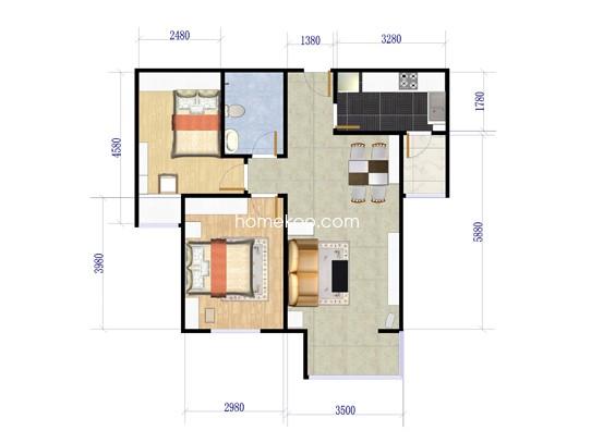 R户型图2室2厅1卫1厨 79.01�O