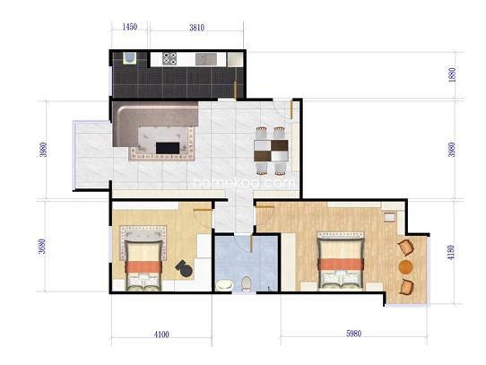 S户型图2室2厅1卫1厨 88.33�O