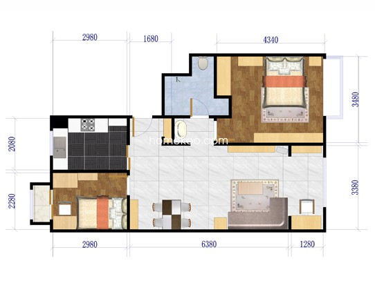 C户型图2室2厅1卫1厨 85�O
