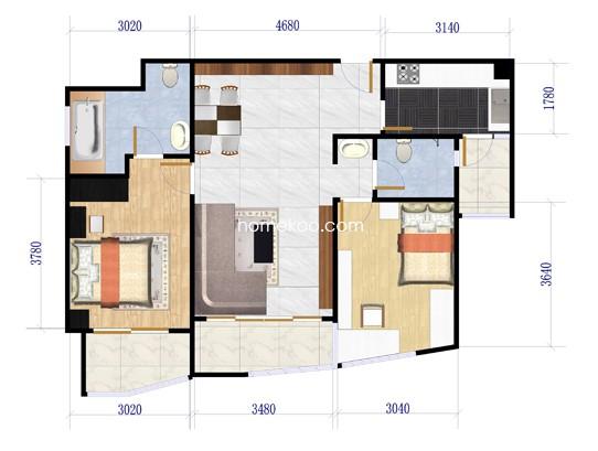 2室2厅2卫1厨 115.23�O