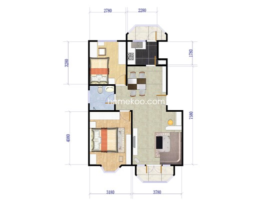 J1户型2室2厅1卫1厨