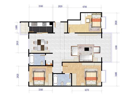 B2、B5号楼E户型3室2厅2卫1厨 131�O