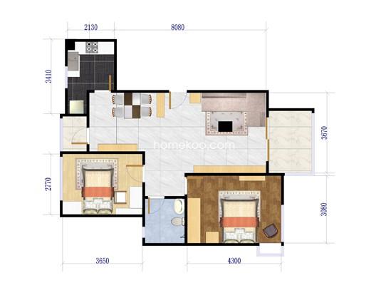 A-1户型图2室2厅1卫1厨 89�O