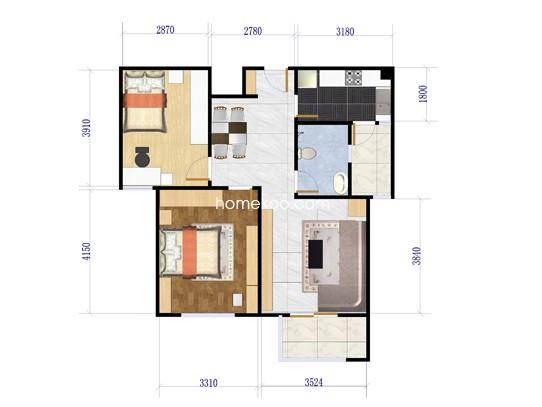 F3户型2室2厅1卫 89�O