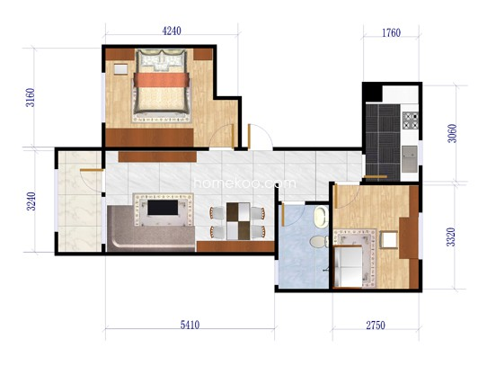 B4户型2室2厅1卫1厨 88�O