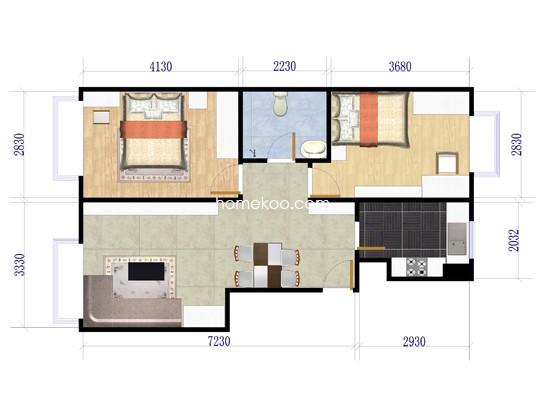 B户型图2室2厅1卫1厨 80�O