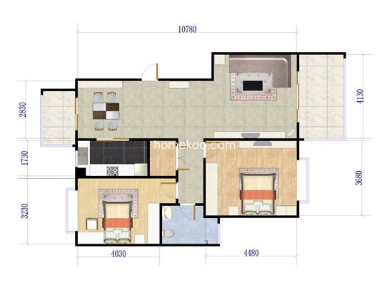 17、19号楼B-3户型2室2厅1卫 106�O