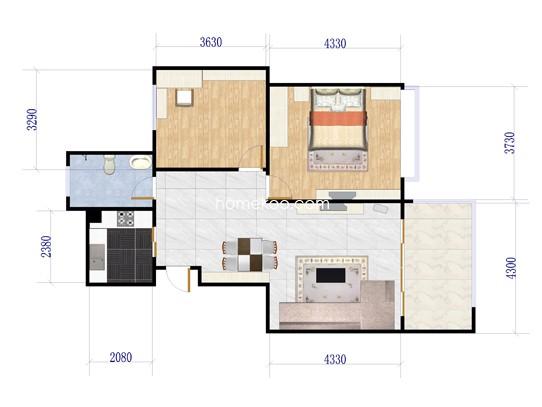 E01#楼F户型2室2厅1卫1厨 90.88�O