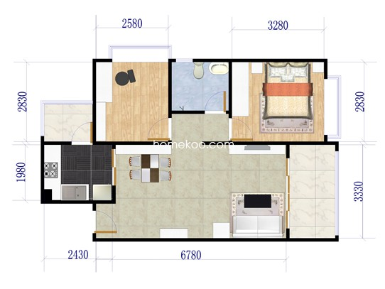 2期146栋标准层01户型2室2厅1卫1厨 80�O