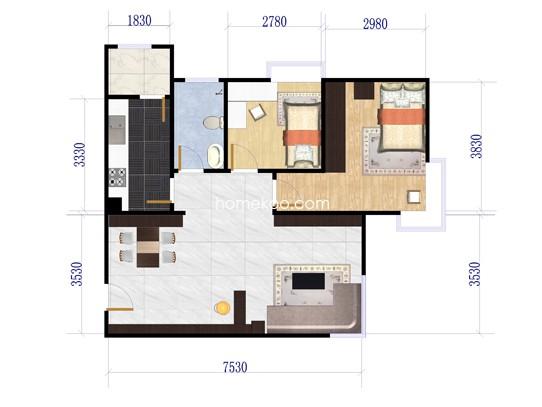 金喜6号楼1单元2室2厅1卫1厨