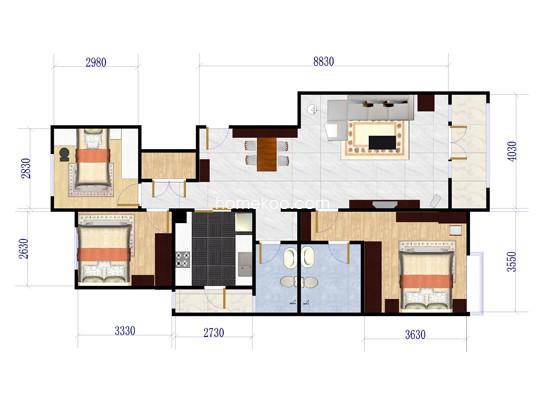 f5户型图3室2厅2卫1厨 118�O