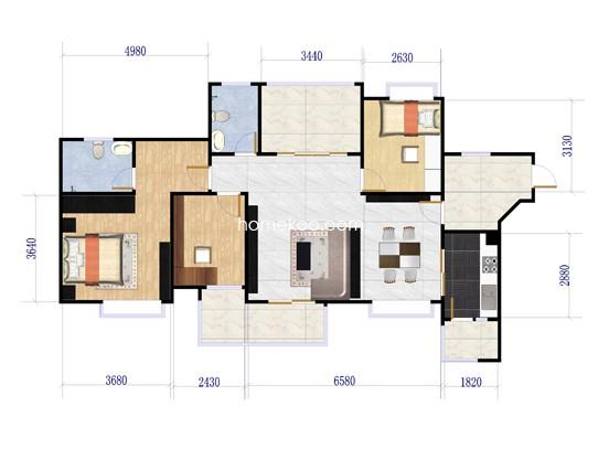 B6B6d 三室两厅两卫 129�O