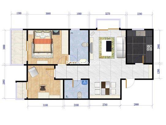5-B1户型图2室2厅2卫1厨94.12�O