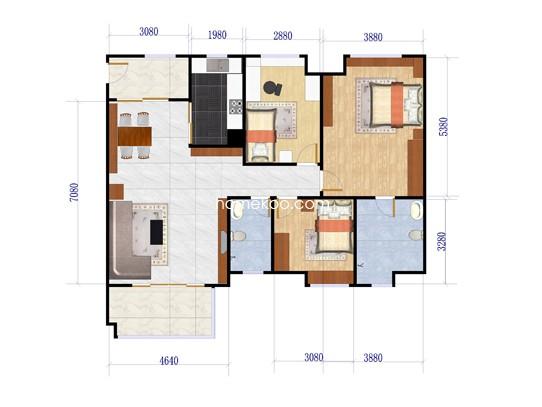D6栋01单位3室2厅2卫1厨 124�O