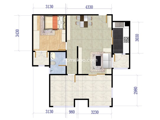 G2户型图1室2厅1卫 88�O