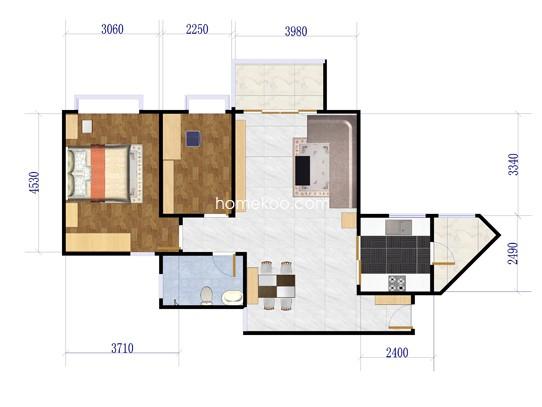 两室两厅一卫 80�O