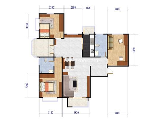 1#B3户型3室2厅2卫1厨 130�O