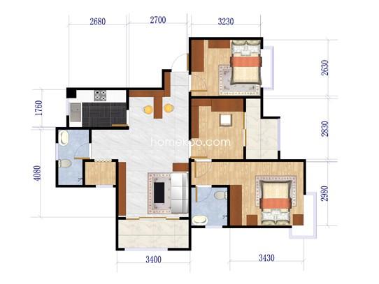 E户型3室2厅1卫1厨 110.32�O