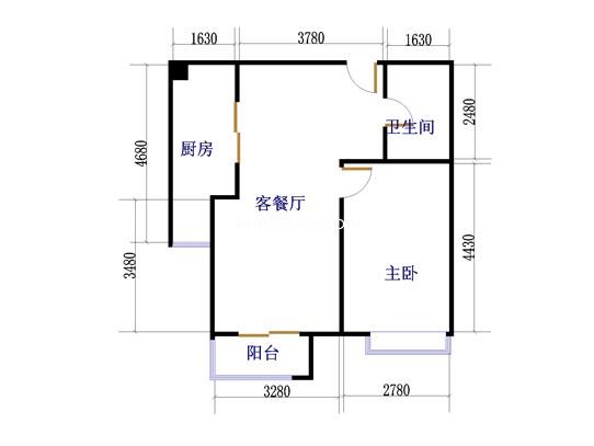 12#G1户型1室2厅1卫1厨 66�O