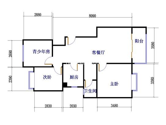 E1户型藤花往事3室2厅1卫 92�O